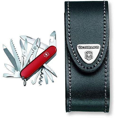 Victorinox Taschenmesser Handyman (24 Funktionen, Kombizange, Holzmeissel, Metallsäge) rot & Victorinox Leder-Etui (für Taschenmesser, Gürtelschlaufe, Klettverschluss, schwarz, 3cm x 10cm) schwarz -