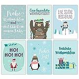 Weihnachtskarten Set blau Weihnachtlich - 12 liebevoll gestaltete Postkarten zu Weihnachten - Grußkarten Set Weihnachtspostkartenset - von Papierdrachen