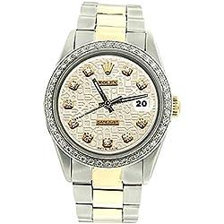 Two tone oyster bracelet white diamond dial bezel Rolex men watch