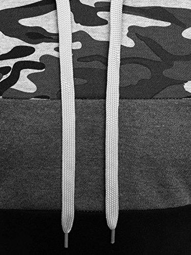 ozonee Uomo Felpa con cappuccio Maglia a maniche lunghe felpa motivo Pullover STAMPE MIMETICO Pullover J. STYLE dd129-10 GRIGIO_js-xhp1005