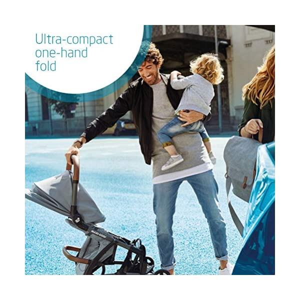 Maxi Cosi Laika Baby Pushchair, Ultra Compact and Lightweight Stroller from Birth, Easy Fold, 0 Months-3.5 Years, 0-15 kg, Nomad Black Maxi-Cosi Ultra-compact one-hand fold - quick to fold with one hand and easy to carry with the shoulder strap Super lightweight and compact - light and compact stroller for effortless walking and carrying Extra-padded seat  - the most comfortable ultra-compact stroller with a large, high seat to cushion baby, and a soft cocooning carrycot 3