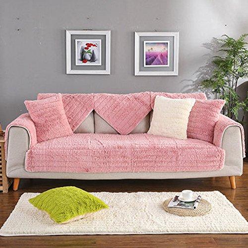 J&DSU Sofabezug Samt Sectional Sofa Rutschfeste Multi-Size Couchbezug Wohnzimmer,1 stück,Maschine Waschbar-Rosa-A 110x240cm(43x94inch) (Seide Samt Decke)