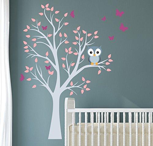 madras24 Wandtattoo kinder Babyzimmer Aufkleber Eule Eulen Wandsticker Wand Waldtiere Kinderzimmer Wandaufkleber Deko Dekoration fürs Baby Kindergarten Baum Tiere