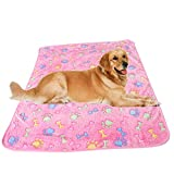 Haodou Hund Bett Weichen Flanell Fleece Stern Knochen Drucken Warme Haustier Decke Schlafen Bett Abdeckung Matte Für Kleine Medium Hund Katze (Rosa)