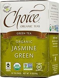 Choice Organic Jasmine Green Tea, 16-Count Box (Pack of 6)