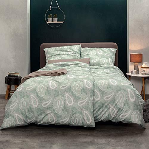 ESTELLA Mako Interlock Jersey Bettwäsche Amalia Mint 1 Bettbezug 135x200 cm + 1 Kissenbezug 80x80 cm