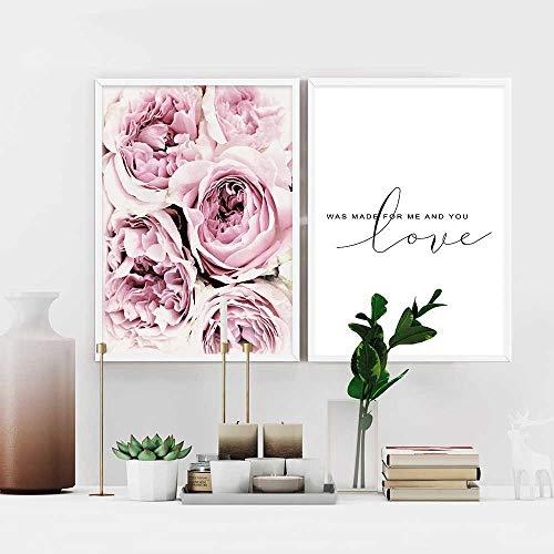 2 Piezas Posters Flor Rosa Citas Amor Cuadros Blanco
