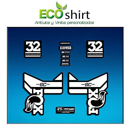 Ecoshirt RO-O798-TK3Z Aufkleber Stickers Fork Fox 32 SC Performance 2017 Am84 Aufkleber Decals Autocollants Adesivi Forcela Gabel Fourne, weiß