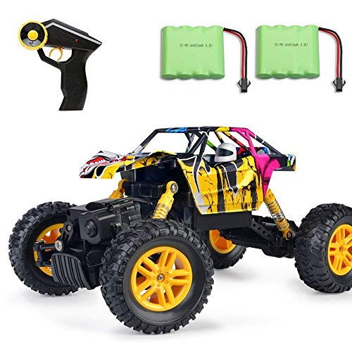 MaxTronic RC Cars, RC Auto 4WD Offroad Rock Crawler 2,4 GHz 1:18 Funk-Fernbedienung Fernsteuerung Fahrzeug Zwei Motoren Graffiti High Speed Racing Monster Truck Modell (Gelb) (Billig Rc-fahrzeuge)