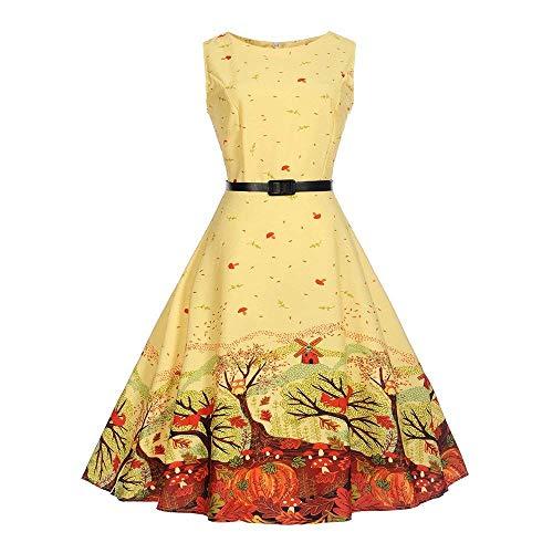 Fuxitoggo Abstand Womens Vintage Dresses, Frauen-Weinlese-Druck Bodycon Sleeveless Tanz-beiläufige Abend-Partei-Abschlussball-Schwingenkleid für Frauen-Damen (Farbe : Gelb, Größe : L)
