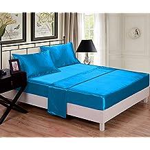 SR.Textiles Hotel Luxury - Juego de sábanas de satén Liso (5 Piezas,