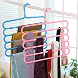 #9: Inovera 5 Layer Pants Clothes Hanger Wardrobe Storage Rack Set of 2, Assorted Colour