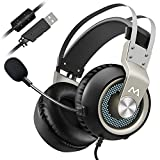 Casque Gaming Casque Gamer 7.1 Stéréo Surround Pro Gaming USB Casque Gamer PC Micro Casque Mpow EG3 Gaming Headset, USB 7.1 son Surround Surround Over-Ear Casque avec Contrôle du Volume et de La Lumière LED pour PC, Mac, PS3, PS4, Micro avec Commutateur , 18 Mois Garantie