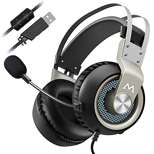 Mpow Virtual 7.1 Surround-Sound Gaming Headset mit Vibrationsfunktion 50mm Treiber LED-Schalten Professional Gaming Kopfhörer mit Mikrofon USB PC,PS4 - Pata-laufwerke