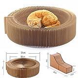 Yamadao Katze Kratzbaum Lounge Akkordeon Konzipiert Zusammenklappbar Karton Tragbare High Density Recycled Wellpappe Kratzbrett Katzen