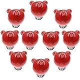 FBSHOP(TM) 38mm 10pcs Rot Schöne Karikatur Möbelknöpfe, Schrankknauf, Türknauf, Keramik Möbelknauf für Schränke, Schubladen, Truhen, Schlafzimmer, Badezimmer