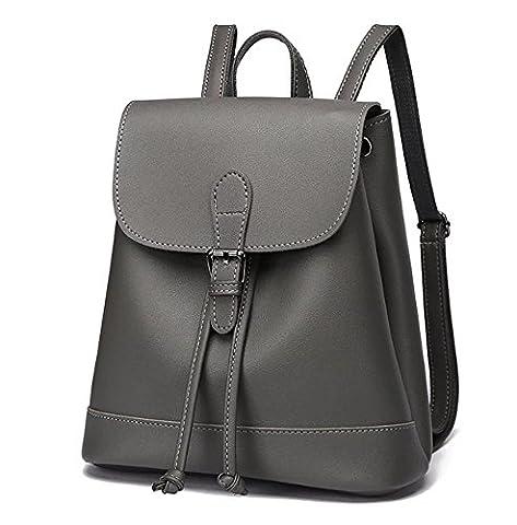Fanova Simple&Practical Drawstring Buckle PU Backpack All-matching Travel Bag Flap Satchels