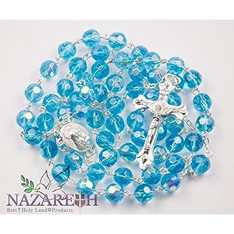 Nuova collana rosario perline di cristallo azzurro cattolica Santa Maria e crocifisso