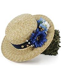 Gr Frauen 100% Weizen Stroh Sonnenhut Lady Sommer Flach Sunbonnet Boater Strand Hut mit Mode Blume (Color : Natural, Größe : 56-58CM)