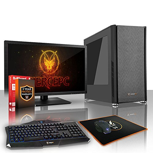Fierce Phoenix Gaming PC Bundeln - Schnell 4.0GHz Quad-Core AMD Ryzen 3 2300X, 2TB SSHD, 16GB 2666MHz, AMD Radeon RX 550 2GB, Tastatur (VK/QWERTY), Maus, 21.5-Zoll-Monitor 531432