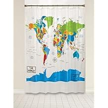 Sábado Knight Limited Home cortina de ducha de mapa del mundo