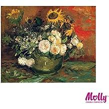 Vincent Van Gogh - Nature morte avec des roses et des tournesols - Peinture par nombres par MOLLYS 40 x 50 cm 28 Couleurs avec Cadre en Bois