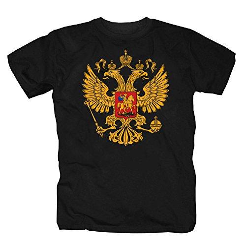 shirtmachine Russland Wappen (XXXL, Schwarz)