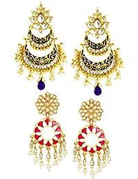 Zaveri Pearls Drop Earrings for Women (Golden)(ZPFK6940)