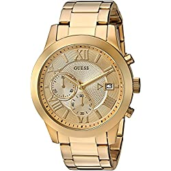 GUESS Men's U0668G4 Dressy Gold-Tone Stainless Steel Multi-Function Watch with Chronograph Dial and Deployment Buckle