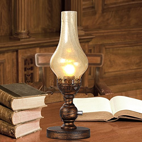 FSLiving Old Kerosene Style Lamp European Nostalgic Bedside Lamp Brown  Glass Lamp Shade Table Light With Button Switch(Bulbs Not Included)
