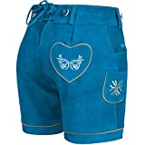 PAULGOS Damen Trachten Lederhose + Träger, Echtes Leder, Kurz in 8 Farben Gr. 34-50 M2, Farbe:Blau, Damen Größe:36 -