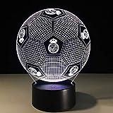 Lámpara 3D Dormitorio Decoración Lámpara De Mesa Real Madrid Football Colorful Touch 3D Luz Nocturna Regalo De Mesa Lámpara De Lectura Lámpara De Lectura, A