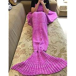 Manta sirena, AIGUMI All Seasons cola de la sirena manta para dormir, ganchillo artesanía caliente cama Sala de techo para los niños (Fucsia)