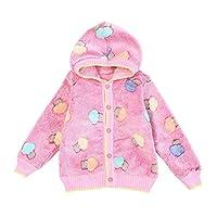 ZHUANNIAN Baby Toddler Boys Girls Hooded Fleece Jacket Button Down Warm Winter Coat (18-24months,Pink)