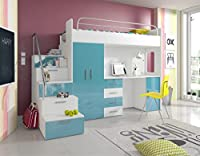 "Ye Perfect Choice HIGH BED TALA 4S"", MODERN SET WITH WARDROBE, DESK AND BED WITH MATTRESS, FUNCTIONAL DESIGN, HIGH GLOSS INSERTS"