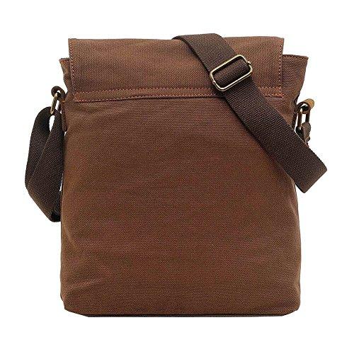 Vrikoo Messenger Bag Unisex Spalla In Pelle Vintage Tela Borse Schultertasche Viaggio Permeabile Crossbody (cachi) Caffè