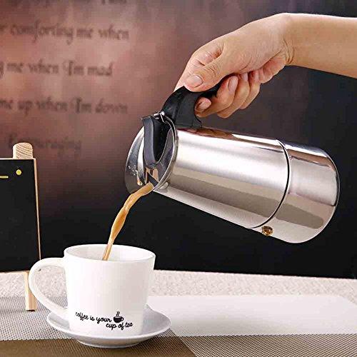 Kaffeekanne, Edelstahl Kaffeemaschine Topf mit Percolator Herdplatte–hitzebeständig Griff...