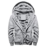 SUCES Mens Hoodie Winter warme Fleece Zipper Sweater Jacke Outwear Mantel Herren Jacke Hoodie Strickjacke Pullover Kapuzenpullover Jacke Sweatjacke Zipper Sweatshirt Strick (Gray, XL)