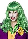 Grüne Damen Langhaar Perücke Wig mit Pony Joker Perücke mit Netz