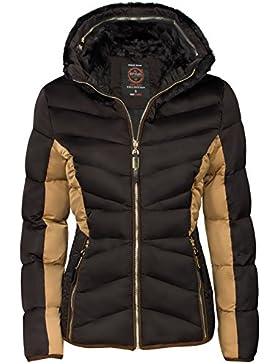 Chaqueta de invierno para mujer (con interior de pelo corto, acolchado, cuello de imitación de piel, relleno de...
