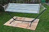 Baumwolle Hängematte mit Hängemattengestell 250 cm - für Balkon, Terasse & Garten - Indoor & Outdoor - Stabhängematte - Hängeliege mit Ständer