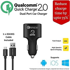 Qualcomm Quick Charge 2.0 24W Car Fast Charger USB for Apple IPhone 6/Apple IPhone 6 Plus/Galaxy S6 Edge Plus/S6,Note 5,Note 4/Nexus 6/ Sony Xperia Z4,Z3/ HTC One M9,One M8/ Asus Zenfone 2/ZTE Axon Pro (Included 20AWG Micro USB Cord Cable)
