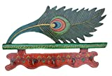 Crafticia Peacock Key Holder Antique Craft Rajasthani Pink City Jaipur Unique Traditional Wooden Handmade Handicraft Decorative Gift Item Home Wall Decor Showpiece / Figurine