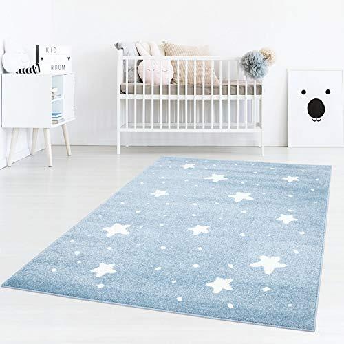 Taracarpet Kinderzimmer Teppich Dreamland kleine kleine Sterne und passende Punkte Blau Creme 120x170 cm