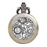 Dr Who weiß Gallifrey Timelord Dichtung Bronze Effekt Retro/Vintage Fall Full Hunter Herren/Jungen Quarz Taschenuhr Halskette–auf 81,3cm Zoll/80cm Kette