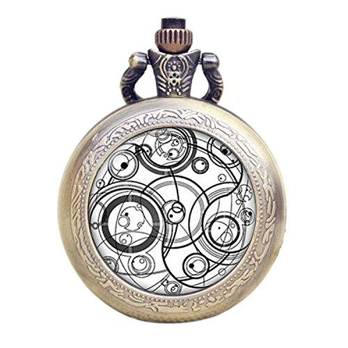 Dr Who weiß Gallifrey Timelord Dichtung Bronze Effekt Retro/Vintage Fall Full Hunter Herren/Jungen Quarz Taschenuhr Halskette-auf 81,3cm Zoll/80cm Kette (Valentines Dr Geschenke Who)