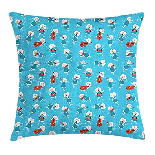 ZMYGH Angel Throw Pillow Cushion Cover, Music Angels Playing Violin Flute Kazoo Saxophone Trumpet Elf Harp Cello Fantasy, Decorative Square Accent Pillow Case, 18 X 18 inches, Blue Red White