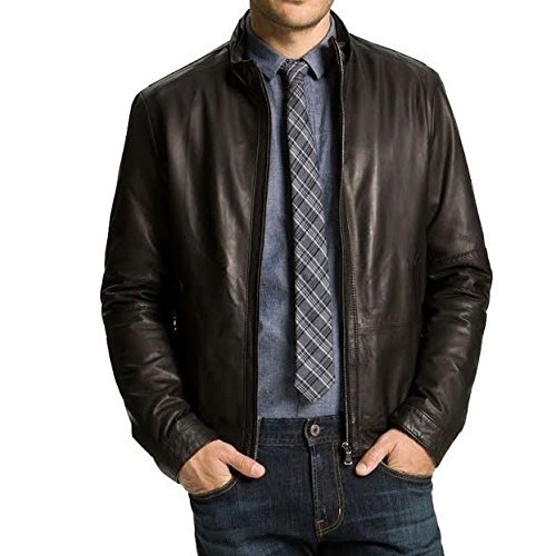 Iftekhar Men's Pure leather Jacket - Black - (Iftekhar38 - M)
