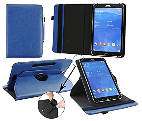 Emartbuy® Samsung Galaxy Tab S2 9.7 Pouce Wi-Fi SM-T813 Tablette Universale ( 9 - 10 Pouce ) Dark Bleu PU Cuir Rotatif 360° Folio Etui Coque Portefeuille Wallet + Bleu Stylet