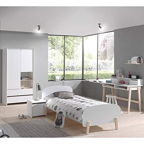Lomadox Möbel-Set für Jugend Schlafzimmer - aus massiver Kiefer in weiß lackiert (Jugend-möbel Schlafzimmer-sets)